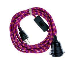 Color Cord Company - Pendant Light Cord (grounded plug) - Magenta & Orange