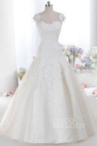 [ USD$ 319 ] New Arrival A-Line Straps Train Tulle Ivory Sleeveless Zipper With Buttons Wedding Dress with Appliques LB1894