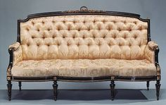 Sofa, ca. 1856  Ringuet-Leprince and L. Marcotte (French and American, active 1848–60)  Ebonized maple, gilt bronze