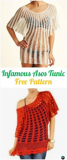 Crochet Infamous Asos Tunic Free Pattern - #Crochet Women Pullover Sweater Top Free Patterns