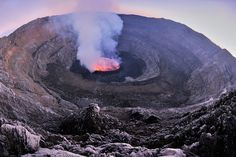 Lava lake boiling in the depths of Nyiragongo Crater, in the heart of the Great Lakes region of Africa.