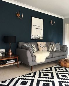 32 Popular Living Room Colors Schemes For Your Inspiration - Home decorating is a major undertaking and not just about the living room color scheme. Before you start, make sure you have totally de-cluttered the . Navy Living Rooms, Ikea Living Room, Living Room Green, Home And Living, Modern Living, Dining Room, Cozy Living, Dark Grey Walls Living Room, Teal Walls