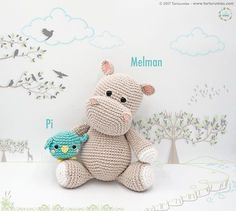 Amigurumi Pattern: The hippopotamus Melman and his friend Pi