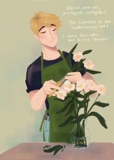 Adrien could totally be rocking out to Hamilton in a flower shop ><