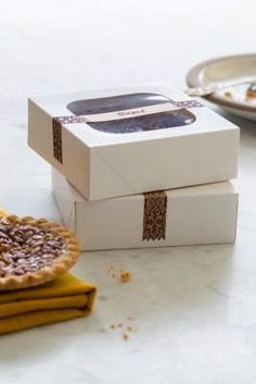Slick way to package pies and other homemade goods using Avery 22847 printable Kraft brown wraparound labels.