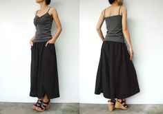 NO.41 Charcoal Brown Cotton Wide Leg Pants by JoozieCotton