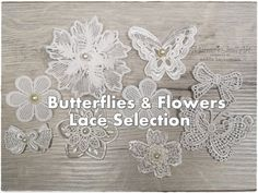 9 Lace Random Fabric White Flowers with pearls for cards, shabby chic projects and mixed media, scrapbooking embellishment Butterfly Flowers, White Flowers, Lace Fabric, Fabric Flowers, Small Art, Embellishments, Journaling, Crochet Earrings, Shabby Chic