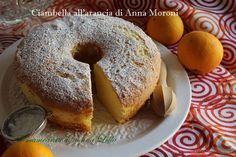 Ciambella all'arancia di Anna Moroni soffice, soffice e con la frutta. Ricette dolci. Ricette alla frutta. Ricette facili.Ricette per la prima colazione.