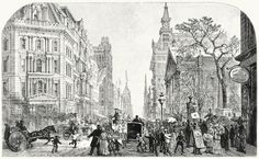 Broadway, south from the post-office.  From New York illustrated, published by D. Appleton & company, New York, 1881.