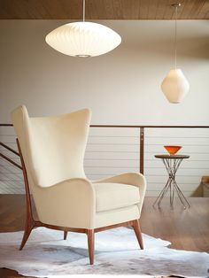 Neutral Mid-Century Wingback Chair by Caracole at Gilt