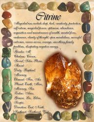 Book of Shadows: Gemstone Grimoire - Citrine by CoNiGMa on DeviantArt Crystal Healing Stones, Citrine Crystal, Crystal Magic, Crystals And Gemstones, Stones And Crystals, Magick, Wiccan, Witchcraft, Pagan