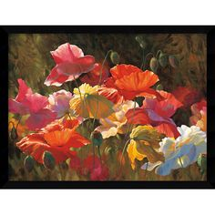 'Poppies in Sunshine' by Leon Roulette Framed Art Print