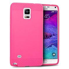 EGC Samsung Galaxy Note 4 Case Premium Grippy TPU - Hot Pink