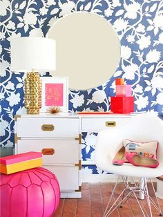 These wallpapered accent walls are sure to stun. This is an incredibly affordable way to add character and charm to any room.