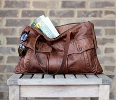 Eco Tote Weathered Leather Bomber Daybag in Rustic Brown Distressed Lightweight Leather - obsessed! Leather Purses, Leather Bags, Recycled Leather, Everyday Bag, Dressing, Green Cotton, Messenger Bag, Brown Leather, Satchel
