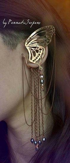 Butterfly ear cuff
