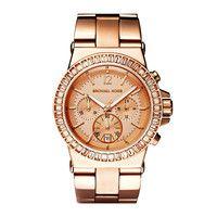 New Michael Kors Women Oversize Dylan Rose Gold Glitz Watch