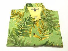 Tommy Bahama L Men's Green Silk Floral Hawaiian Camp Shirt Tree Leaves Large #TommyBahama #Hawaiian