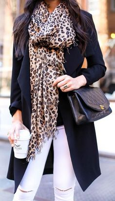 Leopard Print Oversized Scarf for Fall