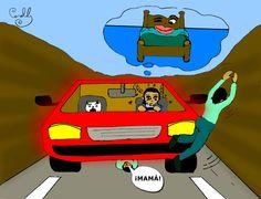 Aquí van algunos consejos que lo ayudarán a escaparse de la hipnosis de la carretera.   Ilustración De Carolil Círculo Aleph