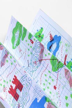 Letterpress and inky, a good example of bright spot colors elements with line details. Map Design, Book Design, Print Design, Atelier Theme, Illustration Design Graphique, Publication Design, Information Design, Communication Design, Grafik Design