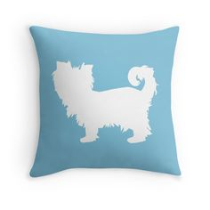 'Yorkshire Terrier Silhouette' by OutlineArt Silhouette S, Yorkshire Terrier, Yorkie, Throw Pillows, Pets, Blue, Yorkshire Terriers, Yorkies, Toss Pillows