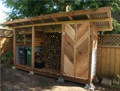 We designed and built this storage and wood shed combo made from cedar, corrugated steel, and pressure treated lumber. The herringbone doors up the style ante! Outdoor Spaces, Outdoor Living, Outdoor Decor, Steel Sheds, Firewood Shed, Firewood Storage, Run In Shed, Shed Doors, Pergola Swing