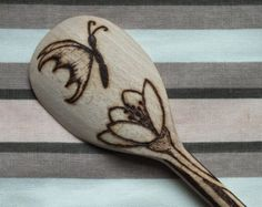Hand-made custom pyrography wooden spoon with flowers and butterflies