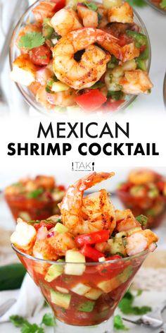 Mexican Shrimp Cocktail, Mexican Shrimp Recipes, Mexican Dinner Recipes, Mexican Dishes, Seafood Recipes, Mexican Desserts, Shrimp Cocktail Recipe With Celery, Shrimp Ceviche Recipe With Clamato, Shrimp Cocktail Recipes