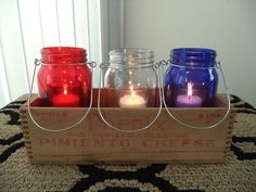 Vintage cheese box mason jar centerpiece.~ Red, clear, & blue jars from dollar store, votive candles, & cheese box {auction find}.~ Rustic, Country, Americana, Primitive, Vintage, Patriotic, Summer, Holidays, Red White Blue, Memorial Day, 4th of July {Independence Day}, Home Décor, Indoors, Outdoors, Simple, Easy, Crafts, DIY, Nailed It 🌠