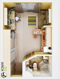 Визуализация интерьера: квартира-студия