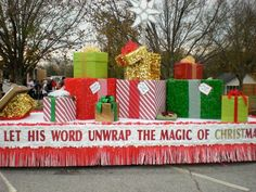 christmas parade floats-Should use this idea for an Operation Christmas Child float Christmas Float Ideas, Christmas Parade Floats, Christmas Home, Christmas Lights, Christmas Holidays, Christmas Crafts, Christmas Decorations, Christmas Movies, Floats For Parade