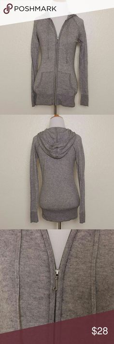 Juicy Couture Cashmere Blend Zip Hoodie Light gray, cashmere blend zip up hoodie Ribbing at cuffs and hem Double zipper pull with signature J 85% Cotton, 15% Cashmere Hand wash Made in China  Measurements: Bust: 32? Waist: 28? Sleeve Length: 26? Overall Length: 26?  Condition: Sweater is clean and shows minimal wear; no holes, stains, pulls, or pilling. Label tag is loose. Juicy Couture Sweaters