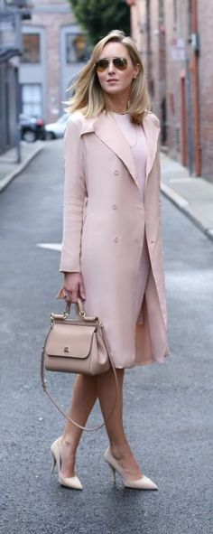 silk blush trench coat, blush long-sleeve dress, nude suede pointed toe pumps, nude satchel, aviator sunglasses {ty-lr, susana monaco, kate spade new york, dolce&gabbana, ray-ban} {monochromatic look}