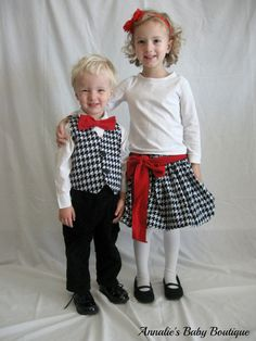 Houndstooth Corduroy Brother Sister Twins Matching Outfits. $65.00, via Etsy.