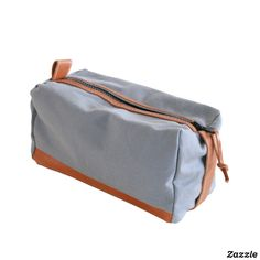 Grey Canvas and Leather Dopp Kit