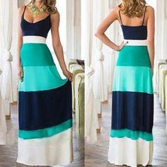 Bohemian Style Spaghetti Strap Color Block Women's Dress Bohemian Dresses | RoseGal.com Mobile