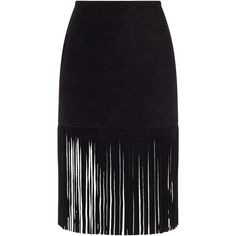 ThePerfext Black Suede Fringe Mimi Skirt ($1,080) ❤ liked on Polyvore