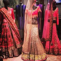 Pink and gold lengha