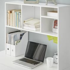 Shop at DormCo for upper desk shelving like The College Cube - Dorm Desk Bookshelf - White. This dorm essentials item has shelves across the top to keep college textbooks, notebooks, and more organized when you don't have upper desk shelves. White Wood Desk, White Desks, Dorm Storage, Storage Spaces, Under Desk Storage, Record Storage, Cube Storage, Bathroom Storage, Bookshelf Desk