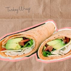 """Turkey Wrap  Take one La Tortilla 100-calorie whole wheat wrap (they come in a """"low carb"""" version, too), add sliced turkey, avocado, mustard, lettuce and tomato. By swapping the mayo for avocado, you'll be adding filling healthy fats (vitamin E, for example) to your meal. Plus, the combo of turkey and whole wheat gives you lean protein and fiber that will make you feel full for hours."""