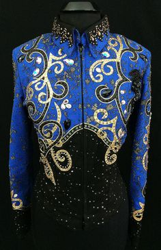 Royal Blue, Black and Gold Jacket by Showing Style ~ Ladies Medium – Just Peachy