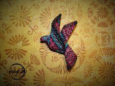 Fenix wrap scrap origami dove broche from hand woven wrap, made by KodoBa. #Fenix #KodoBa #wrapscrap #broche #dove
