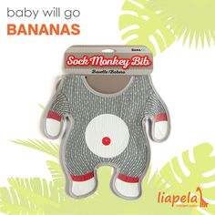 A bib to make feeding your little monkey fun! Everyone loves the adorable sock monkey.   The Sock Monkey Bib (US)$10 is the latest adorable accessory to steal our hearts. Keep food off baby's clothes with the bib's traditional sock monkey design.  Baby will go bananas to bring a piece of their favorite toy to the dinner table!  Like on Instagram @LiapelaModernBaby