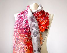 Silk scarf Peonies in Gray - hand painted silk scarves - gray scarf - yellow pink flowers - ombre scarf - flower scarf wreath scarf
