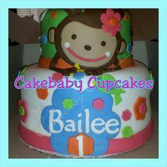 Custom Monkey Love Themed 2 Tier Cake In Vanilla Bean For A 1st Birthday