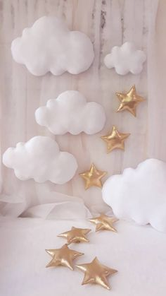 Set of 5 Clouds+ 5 stars wall hanging,clouds decor,photo prop,clouds nursery decor,white fabric clouds Cloud Nursery Decor, Clouds Nursery, Star Nursery, Hanging Clouds, Hanging Stars, Cloud Decoration, Star Wall, White Clouds, Pretty Packaging