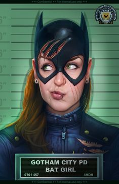 """Artist Jacob Sparks released an image of this amusing piece of Batgirl fan art that he created. It's presented as a mugshot from the Gotham City Police Department, and as you can see, it looks like she may have been in a crazy violent cat fight. Those cuts over her head are pretty brutal looking. The piece is called You Should See The Other Guy, but I can only assume that the """"guy"""" she got into it with was Catwoman."""