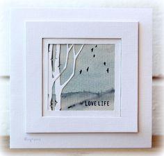 By Birgit Edblom. Die-cut birch trees. Textured cardstock. Double frame.