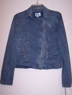 Xhilaration Jean Jacket XL New Stretch Denim Zippered Moto Style Casual NWT  #Xhilaration #JeanJacket #Casual